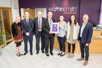 SB Homes - a house builder in Huddersfield - has been presented with Eaton Smith's Business of the Month Award